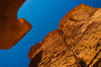Bottom-up view to Abstract Rock formation at plateau Ennedi aka stone forest in Chad