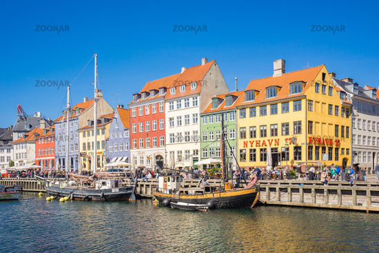 Nyhavn the waterfront, canal and entertainment district in Copenhagen, Denmark
