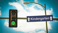 Street Sign to Kindergarten