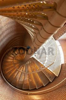 Spiral Staircase inside a Coastal Ocean Lighthouse Building
