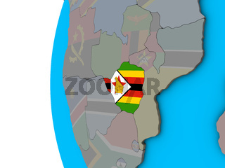 Zimbabwe with flag on 3D globe