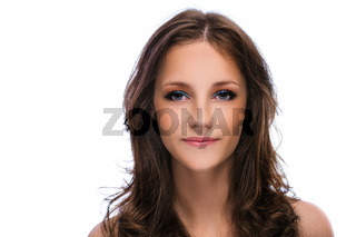 Portrait of young beautiful woman with dark hair