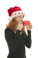 Christmas woman drinking chocolat