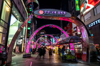 biff square in busan at night