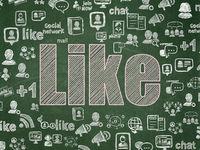 Social media concept: Like on School board background