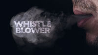 Whistleblowing concept: a man blows smoke from his mouth, on which appears the inscription wistle blower