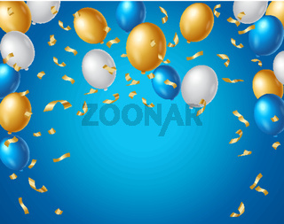 Colored blue, white and gold balloons and golden confetti on a blue background with space for your text. Colorful birthday anniversary background vector