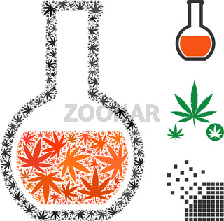 Glass Flask Composition of Hemp Leaves
