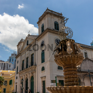Detail view on Sé Cathedral de Macau and fountain. Sé, Macao, China, Asia.