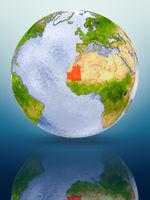 Mauritania on globe