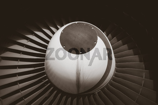 Airplane engine detail. Black and white picture