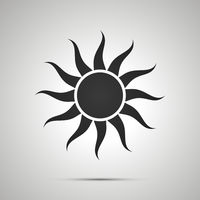 Sun with curved rays, simple black icon with shadow on gray