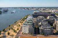 Aerial view apartment buildings Amsterdam near harbor and Northsea canal