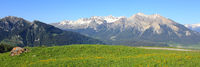 Mountains on Canton of Grisons seen from Obermutten, Switzerland.