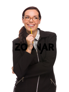 Mixed Race Businesswoman Holding Pencil Looking To The Side Isolated on a White Background