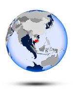 Cambodia on globe