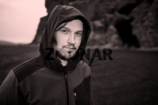 Hooded man in Iceland