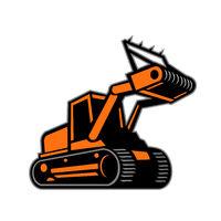 Tracked Mulching Tractor Icon Retro