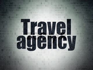 Vacation concept: Travel Agency on Digital Data Paper background