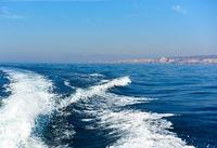 Wavy trail on the Mediterranean Sea after vessel,  Spain