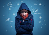 Frozen boy with doodled snowflake and windy concept