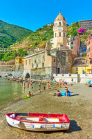 Sandy beach in Vernazza
