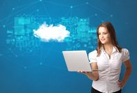 Person presenting cloud technology concept