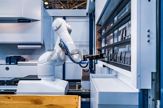 Robotic Arm modern industrial technology. Automated production cell.