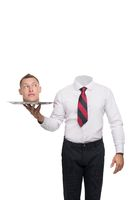Man in office clothes holding trail with his head on it