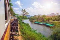 Train on Wang Pho Viaduct, Death Railway, Kanchanaburi, Thailand