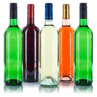 Wein Flaschen Weinflaschen bunt Sammlung Rotwein Weißwein Rose freigestellt