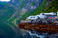 Geiranger fjord, Norway. Family vacation travel RV, holiday trip in motorhome, Caravan car Vacation.
