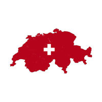 Switzerland country silhouette with flag on background, isolated on white