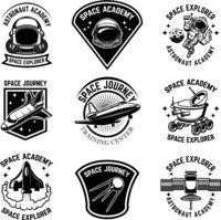 Set of space camp label templates. Design element for logo