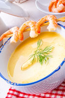 rustic asparagus soup with shrimp skew and diel