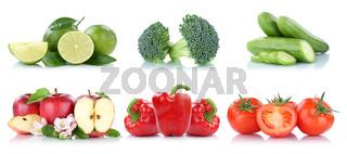 Früchte Obst und Gemüse Sammlung Apfel Tomaten Farben frische Freisteller freigestellt isoliert