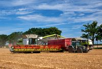 two harvester unloading corn on tractor