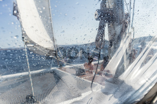 Sailing yacht catamaran sailing in rough sea. Sailboat. Sailing concept.