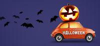 Halloween pumpkin on car