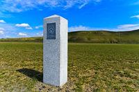 Grenzstein, UNESCO Weltnaturerbestätte Kulturlandschaft Orchon Tal, Charchorin,Mongolei