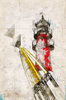 Digital artistic Sketch of a Lighthouse in Buesum in Germany