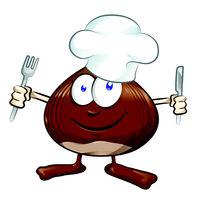 chestnut cartoon chef isolated on white . illustration mascot