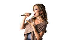 Singing woman speaking into microphone