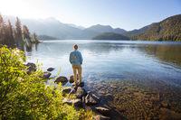 Relaxing on mountain lake