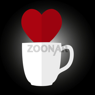 Silhouette of the heart and the silhouette of a Cup for coffee or tea