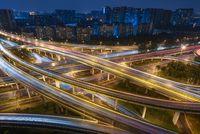 Large interchange aerial view at night in Chengdu