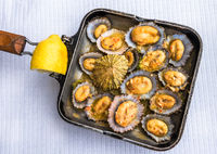 Grilled limpets in the pan served with lemon