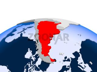 Argentina on political globe