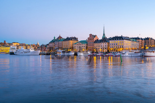 Night view of Stockholm skyline old town in Sweden