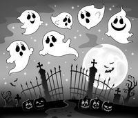 Halloween image with ghosts theme 7
